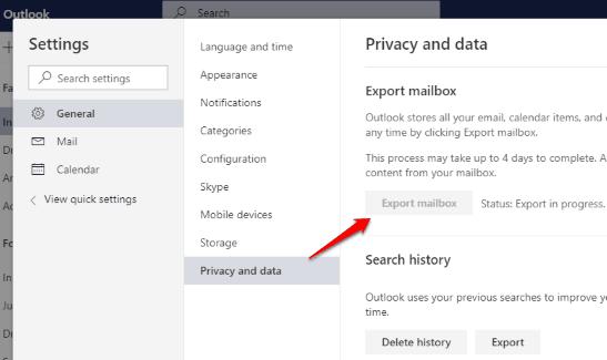 export mailbox data