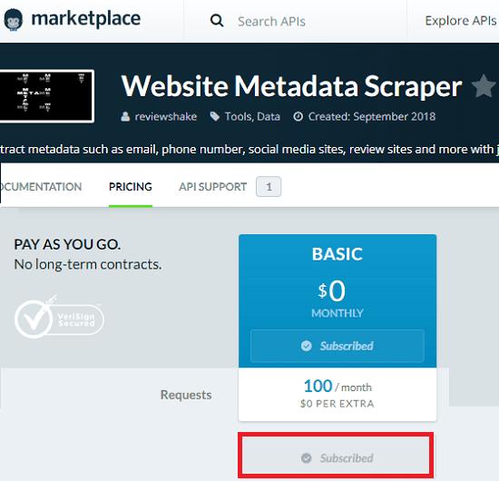 marketplace for website metadata scraper