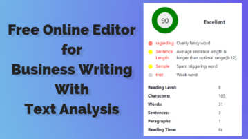 Online Editor for Business Writing With Text Analysis
