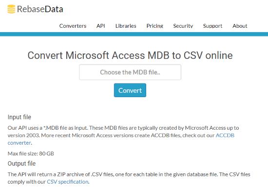 free online mdb file converter csv