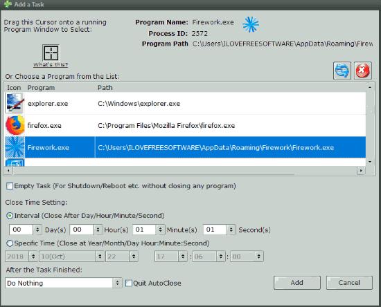 select a program and set close time