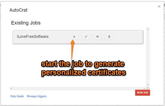 start the job