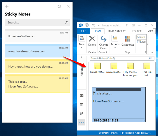 sticky notes transferred to microsoft outlook