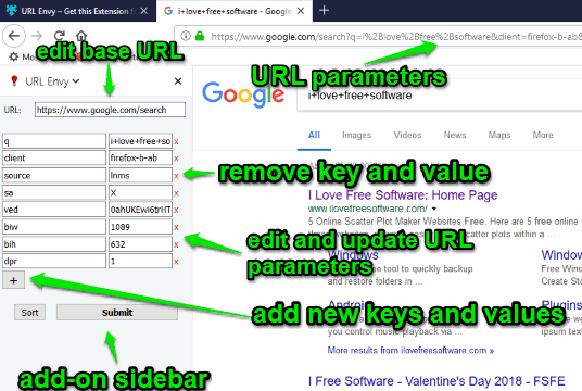 use add-on sidebar to edit url parameters
