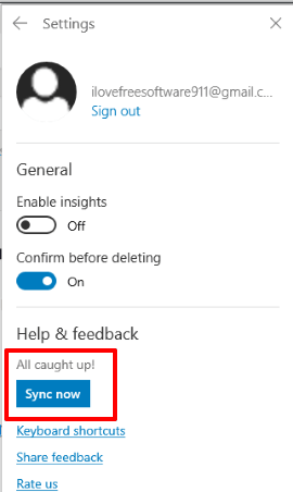 use sync now button