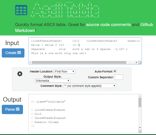 ASCII Table Generator interface