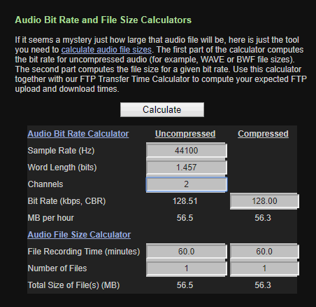 Audio Bit Rate and File Size Calculator