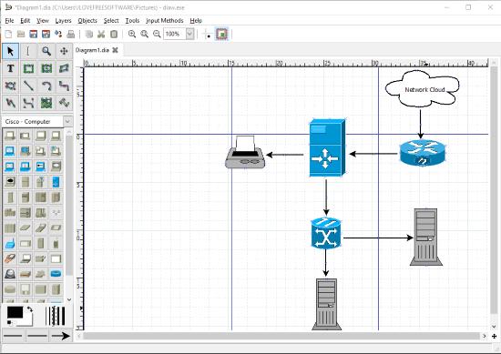 Dia Diagram Editor- interface