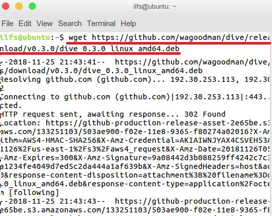 Download Dive in Ubuntu using Wget