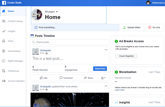 Facebook Creator Studio Home