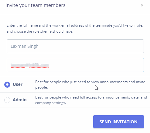 Invite members as user or admin