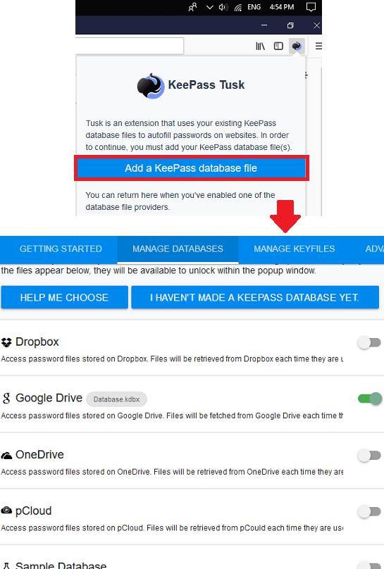 KeePass Tusk configure cloud storage