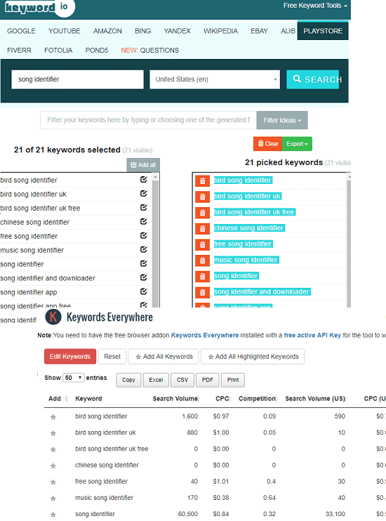 Keyword.io aso keyword research tool
