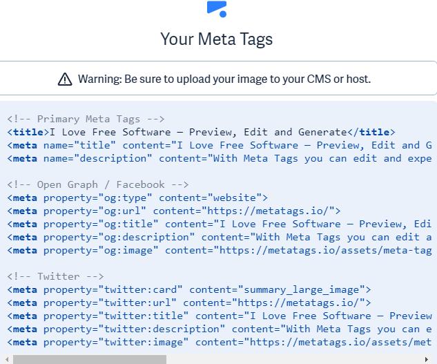 Meta Tags code generated