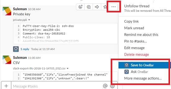 OneBar save message from Slack