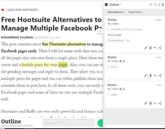 Reading mode enabled and webpage annotated