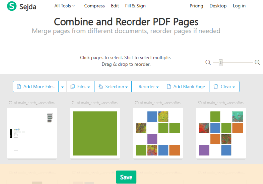 Sejda Combine and Reorder PDF Pages interface