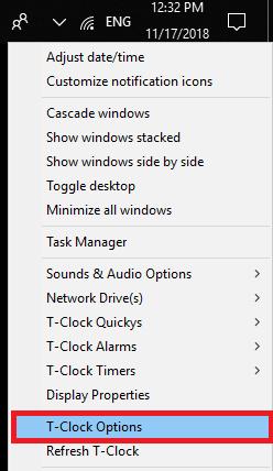 T-Clock options