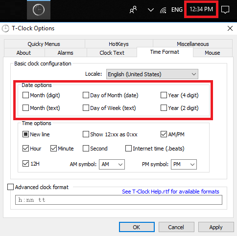 T-Clock remove date to see only time in taskbar