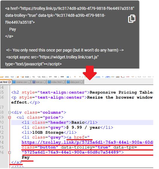 Trolley add code to website