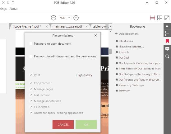 add bookmarks, set file permissions etc