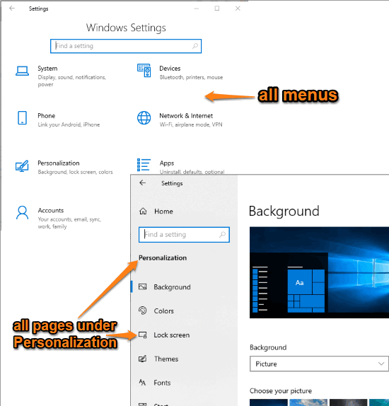 all menus are visible and all pages are visible under personalization