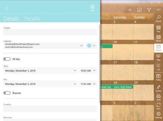 free Windows 10 calendar app with Google Calendar