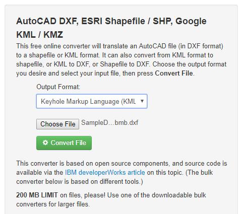convert dxf to kml online