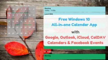 Free Windows 10 Calendar App With Google Calendar, Outlook Calendar, Facebook Events