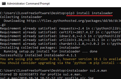 install instaloader pip