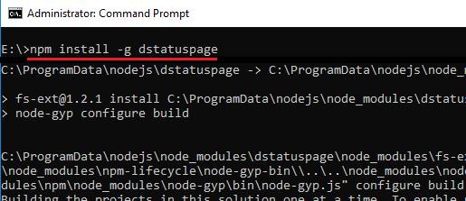 npm g install dstatuspage