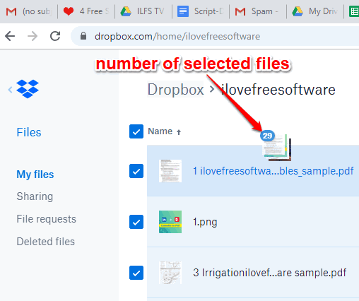 number of selected files visible