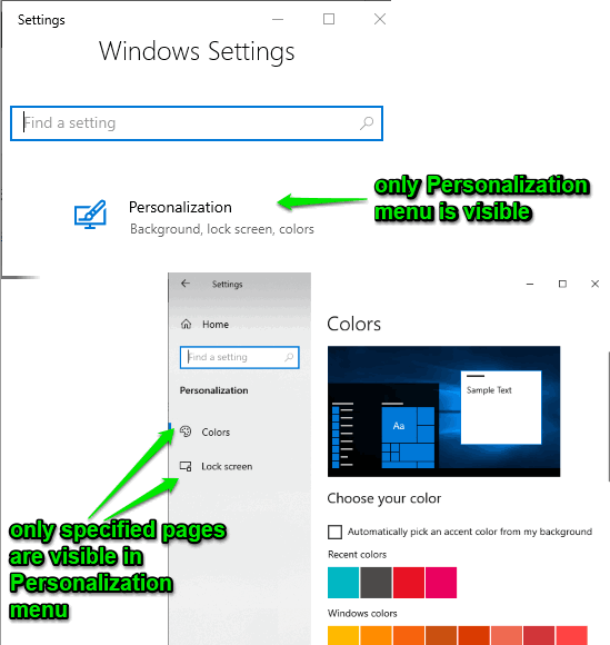 only specificed menu and pages are visible in settings