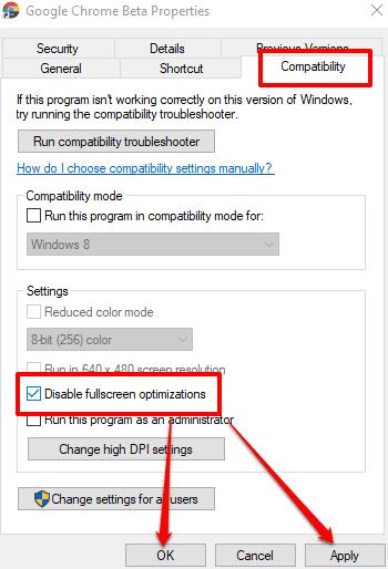 select disable fullscreen optimizations option