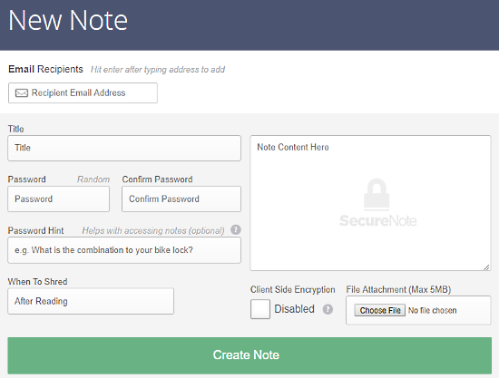 send encrypted password protected self-destructive notes online