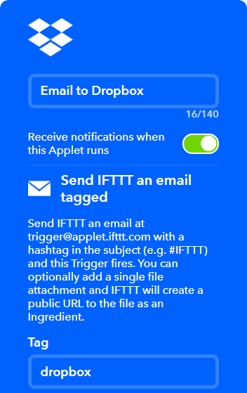 send files to Dropbox using email to Dropbox IFTTT applet
