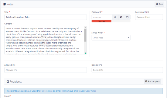 securely share private notes online
