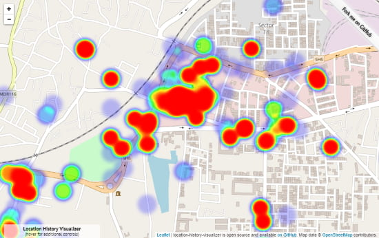 visualize Google location history as heat map