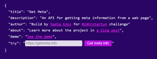 website metadata extractor API