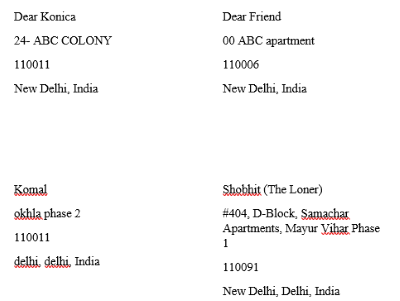 Address in Word document