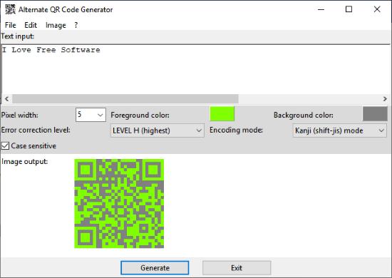 Alternate QR Code Generator Interface