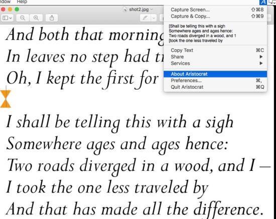 Aristocrat text selection