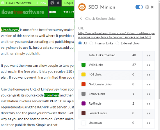 Broken Links Analyzer SEO Minion