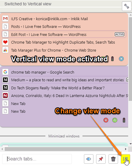 Chrome Tab Manager to Highlight Duplicate Tabs, Search Tabs