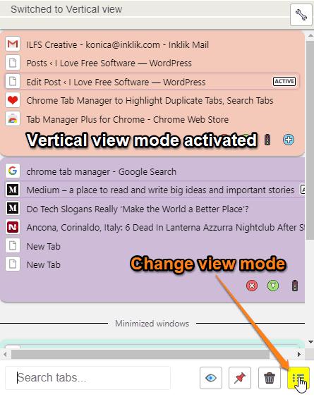 Change view mode