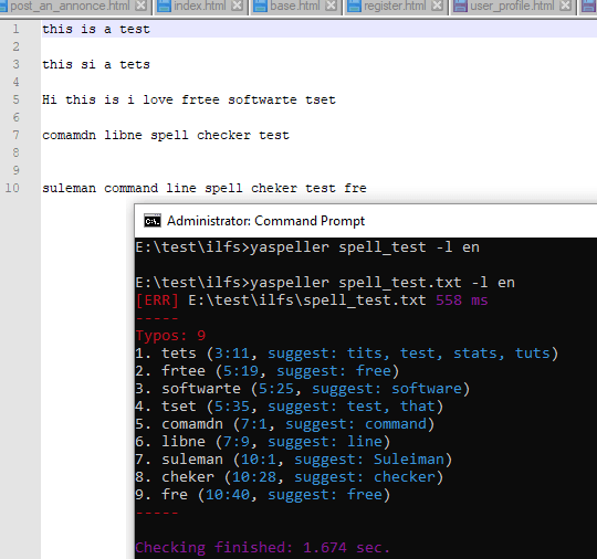 Command Line Spell Checker Tool for Text, HTML, Markdown Files