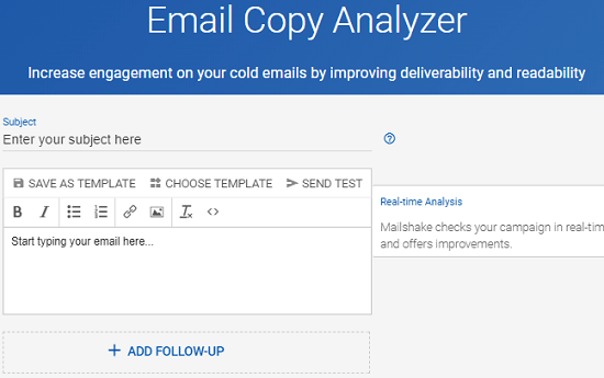 Email Copy Analyzer interface