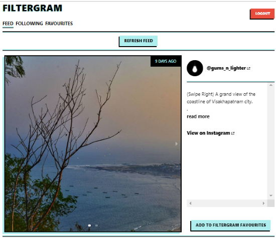Filtergram- instagram feed is filtered with specific words only