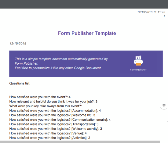 Form Publisher Google Forms add-on- pdf for form response created