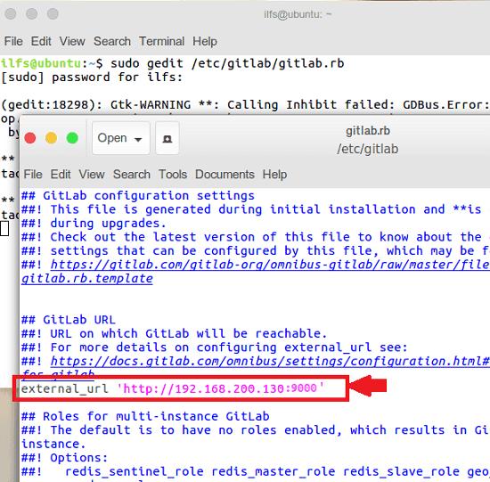 GitLab edit gitlab.rb file